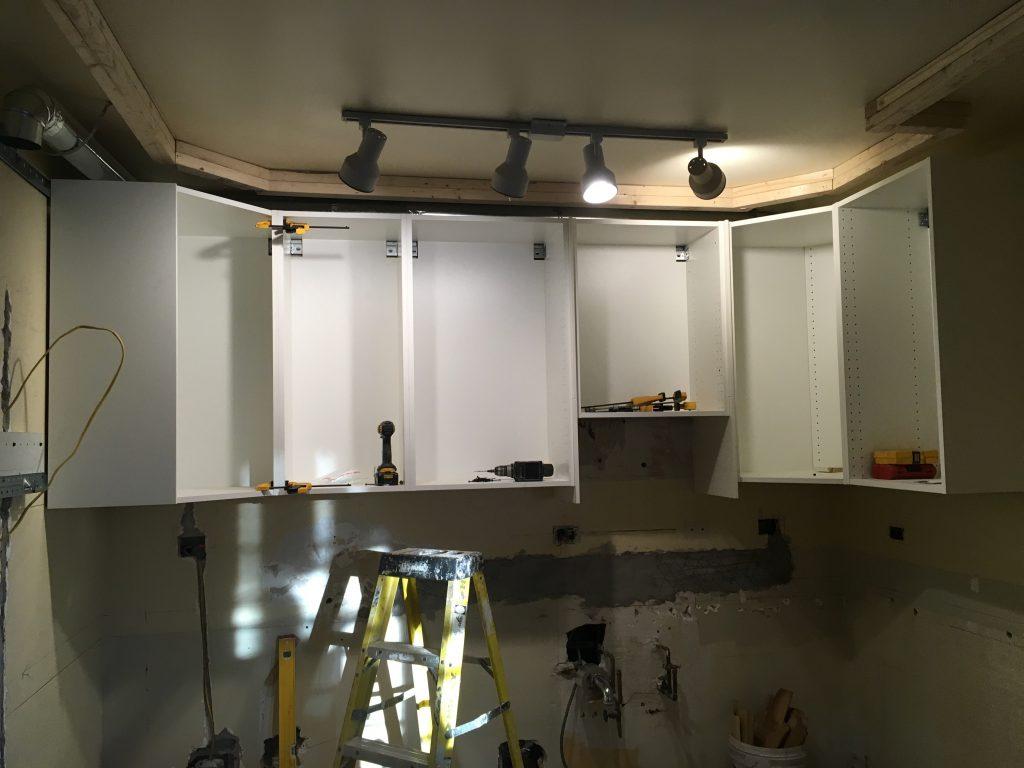 IKEA wall cabinets hung