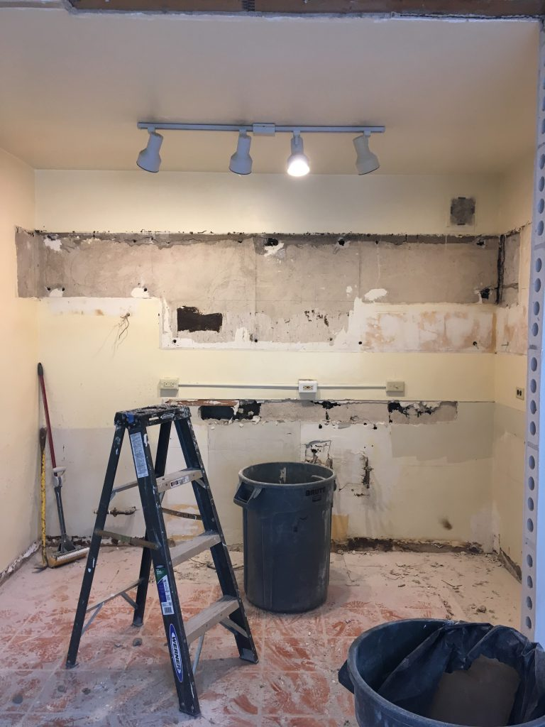 Demolished kitchen