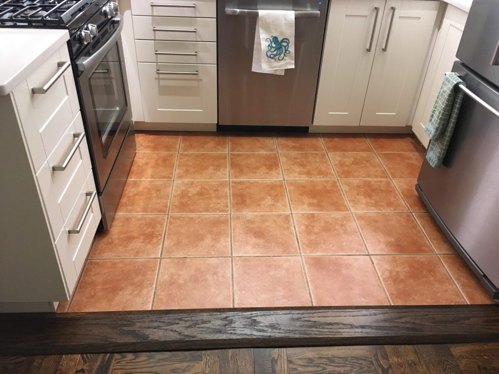 Kitchen floor transition threshold